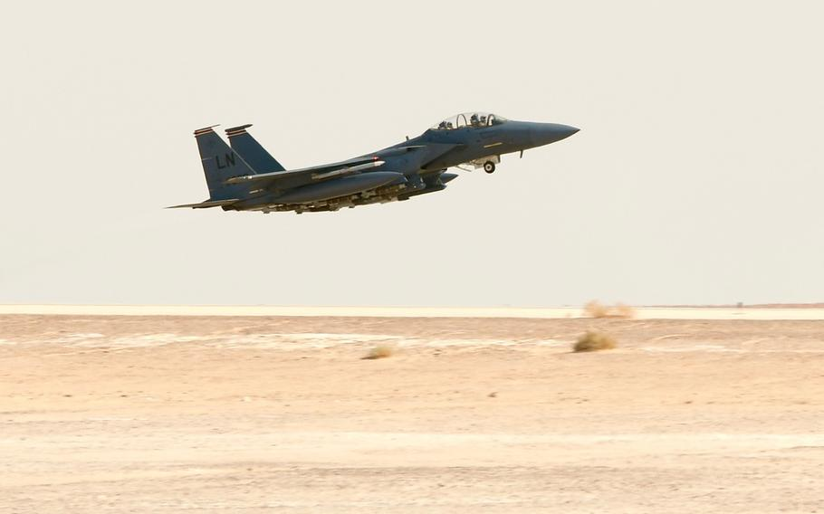 A U.S. Air Force F-15E Strike Eagle assigned to the 494th Expeditionary Fighter Squadron takes off on the first U.S. Air Force combat sortie in 17 years generated at Prince Sultan Air Base, Kingdom of Saudi Arabia, Jan. 8, 2020.