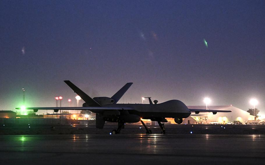 An MQ-9 Reaper taxis at Kandahar Airfield, Afghanistan, in 2018. The U.S. dropped more bombs and other munitions in Afghanistan last year than any other year since documentation began in 2006, Air Force data shows.