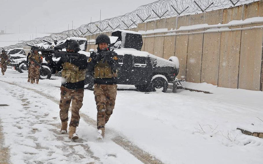 Iraqi special operations forces train in the snow in northern Iraq, Feb. 11, 2020.