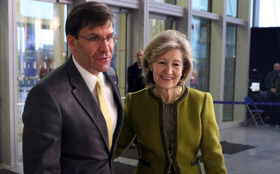 Secretary of Defense Mark Esper and U.S. Permanent Representative to NATO Kay Bailey Hutchison before the start of the second day of a two-day meeting of defense ministers at NATO headquarters in Brussels, Belgium, Feb. 13, 2020.