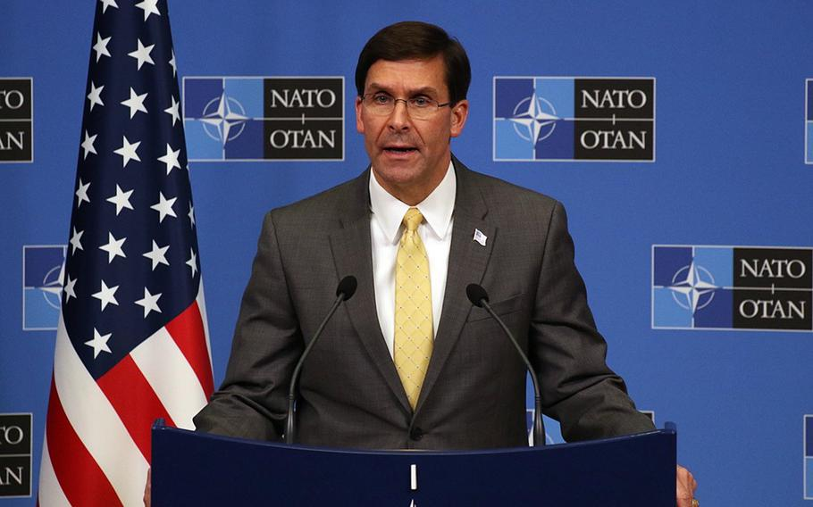 Secretary of Defense Mark Esper speaks to the media following a two-day meeting of NATO defense ministers at the alliance's headquarters in Brussels, Belgium, Feb. 13, 2020.