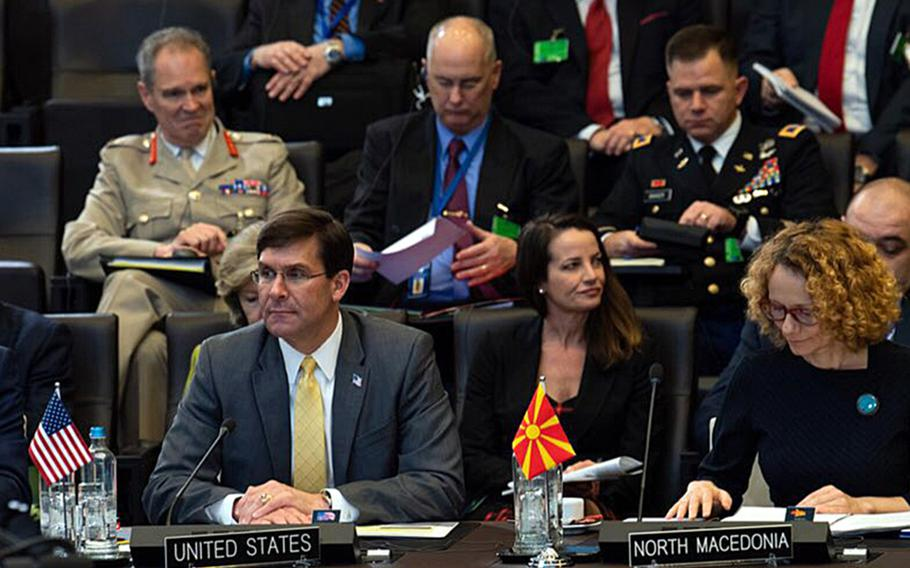 Secretary of Defense Mark Esper during the second day of a two-day meeting of NATO defense ministers at the alliance's headquarters in Brussels, Belgium, Feb 13, 2020.