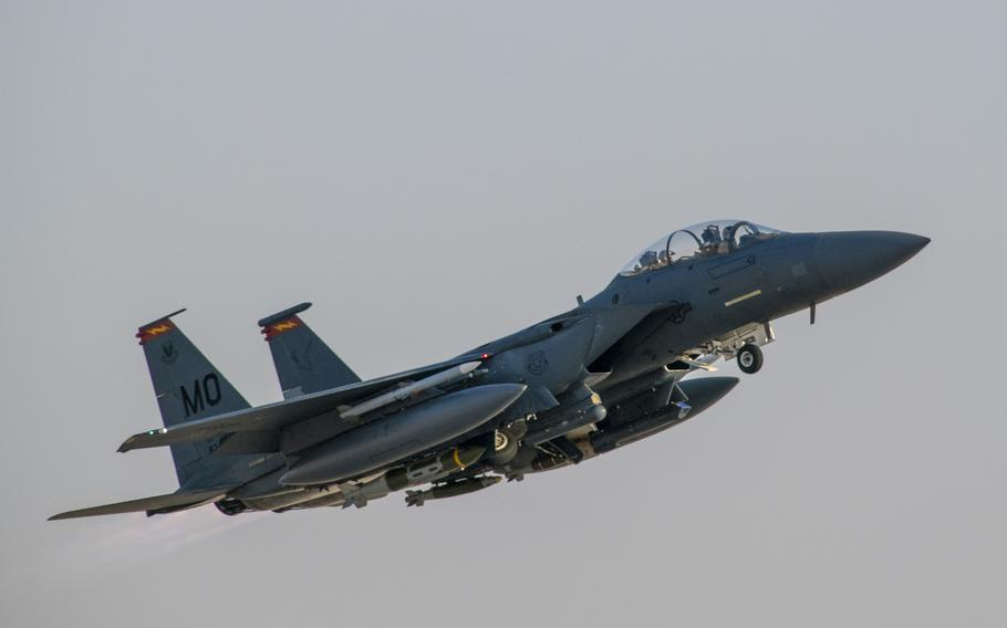 An Air Force F-15E Strike Eagle from the 332rd Air Expeditionary Wing takes off Feb. 13, 2020, at an undisclosed location in Southwest Asia. U.S. airstrikes Feb. 25, 2020, killed four Islamic State fighters in Afghanistan's Kunar province, U.S. officials said.