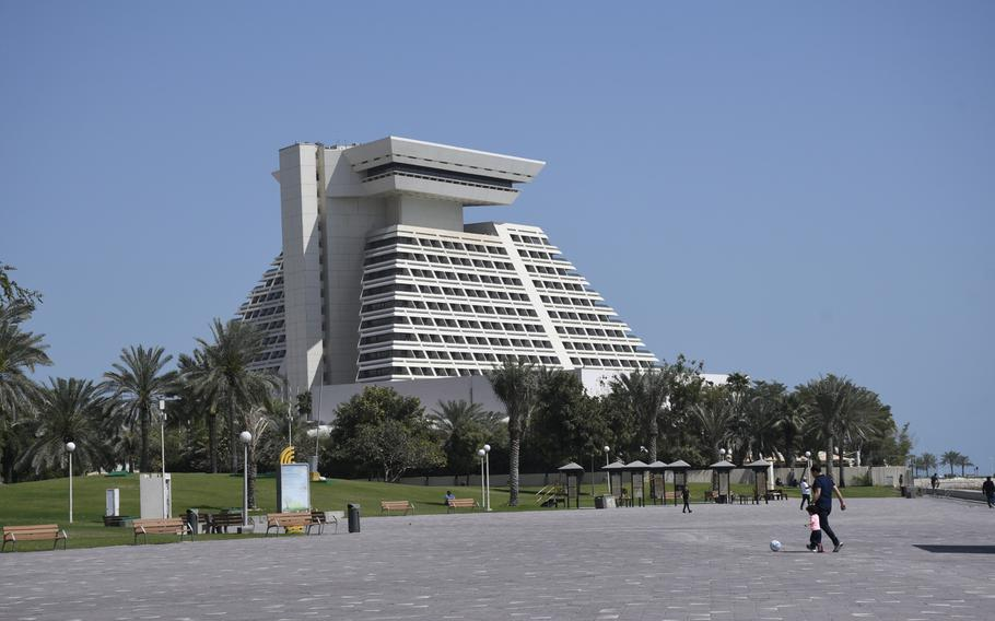 The Sheraton Grand Doha in Qatar, where U.S. and Taliban officials are expected to sign a peace deal on Saturday, Feb. 29, 2020.