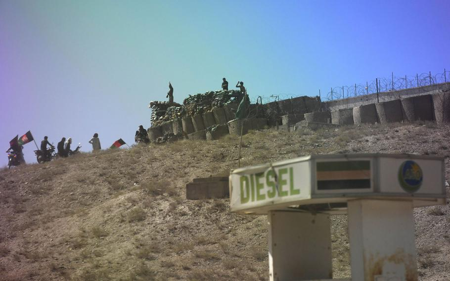 A small checkpoint in Taliban territory in Baracki Barak district, Logar province, is seen in June 2018. The Taliban have resumed offensives against Afghan government forces, days after a partial cease-fire ended and the signing of a peace accord with the U.S.