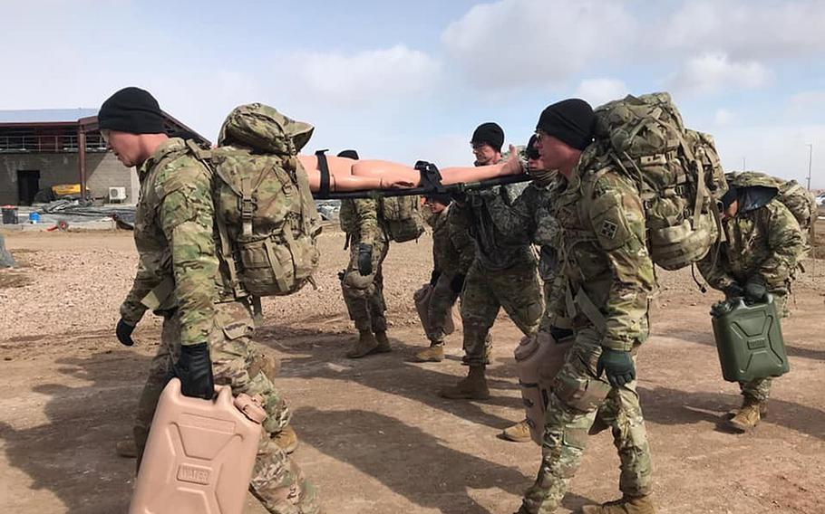 Soldiers with the 4th Security Force Assistance Brigade conduct medical training Feb. 27, 2020. The 4th SFAB, based at Fort Carson, Colo., is due to deploy to Afghanistan in the fall.