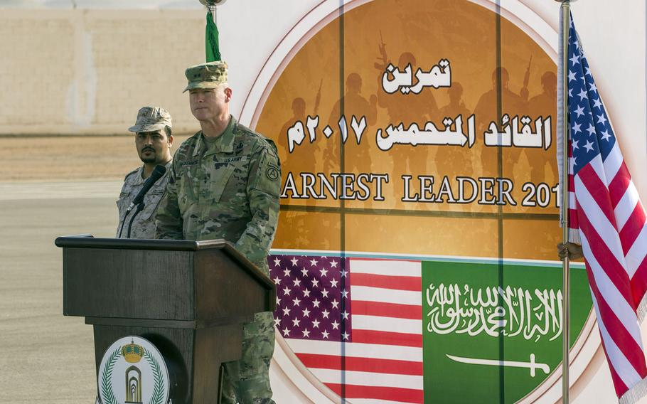 Maj. Gen. Terrence J. McKenrick, then-U.S. Army Central deputy commander, delivers remarks during the Earnest Leader 17 closing ceremony in Saudi Arabia in 2017. The Army has authorized soldiers who have served in Saudi Arabia since September 2019 to wear combat patches.