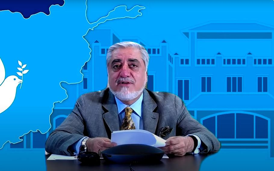 Abdullah Abdullah, chairman of Afghanistan's High Council for National Reconciliation, seen here in a screenshot from an online event with the U.S. Institute of Peace on June 24, 2020, says escalating violence is making it more difficult to for the government to begin peace talks with the Taliban.