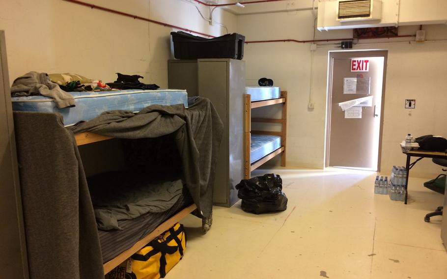 A photo taken July 8, 2020, and provided by one of the foreign contractors stranded without pay at Bagram Airfield in Afghanistan, shows one of the rooms they were living in. Many of the contractors were stuck at Bagram for months, after the U.S. company that brought them to Afghanistan to work on U.S. bases terminated their contracts.
