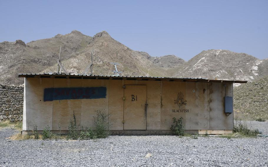 A building that once belonged to American soldiers at the former Combat Outpost Blackfish in Achin district, Nangarhar province, in eastern Afghanistan, has sat unused since the base was turned over to the Afghans. The Taliban have attacked the base daily since U.S. forces left,said  Blackfish's new Afghan commander, 1st Lt. Hashmat Mubariz.