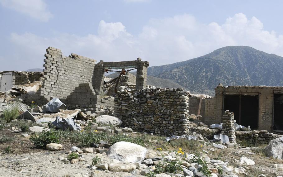 The ruins of former Islamic State position that was bombed by the U.S. during the campaign against the militant group in Nangarhar province in eastern Afghanistan, are still visible in Achin district.