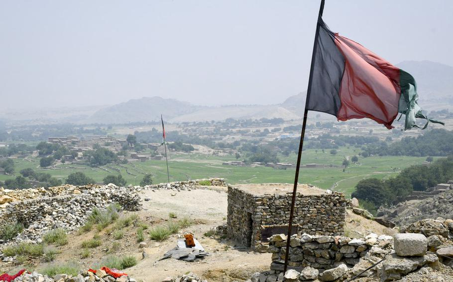 The view from an Afghan militia outpost in Achin district of eastern Afghanistan on July 26, 2020. Fighters at the outpost said the Taliban have increased attacks in the weeks since U.S. troops left a base in the valley.