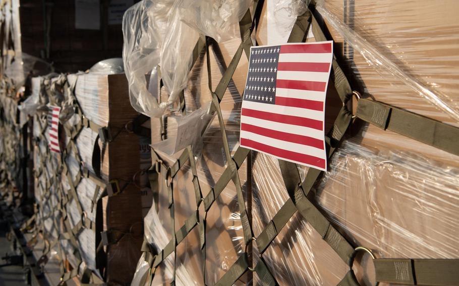 Humanitarian aid supplies are loaded on a U.S. Air Force C-17 Globemaster III at Al Udeid Air Base, Qatar, Aug. 6, 2020, bound for Beirut, Lebanon.