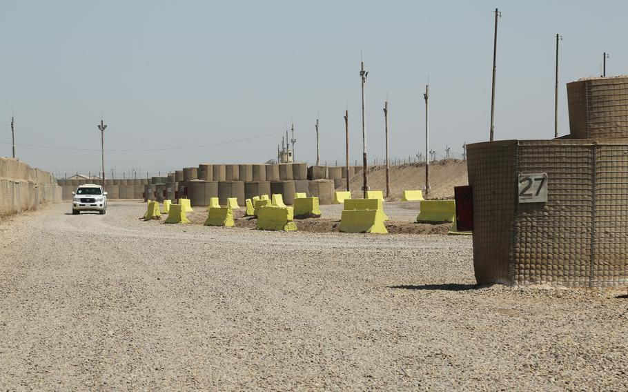 A section of the ammunition supply point at Camp Taji, Iraq, Aug. 14, 2020.