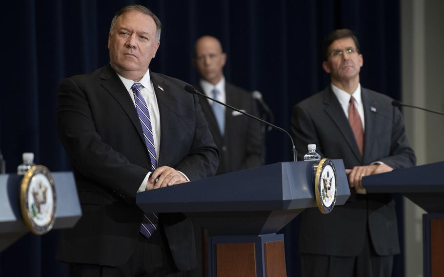 Secretary of State Mike Pompeo and Defense Secretary Mark T. Esper, among others, hold a press conference during the 2020 Australia-U.S. Ministerial consultations at the State Department, July 28, 2020. A letter was sent to both of their departments Monday demanding they provide witnesses to testify at a Sept. 9 hearing in Congress on the war in Afghanistan and the peace process.