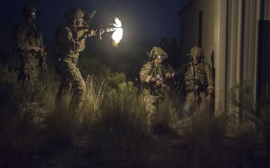 A special tactics airman assigned to the 17th Special Tactics Squadron fires an M4 carbine during a Jaded Thunder exercise at Mountain Home Air Force Base, Idaho, Aug. 20, 2018. The Air Force special operations unit has racked up more than 6,900 days of continuous deployments and combat operations since 9/11.