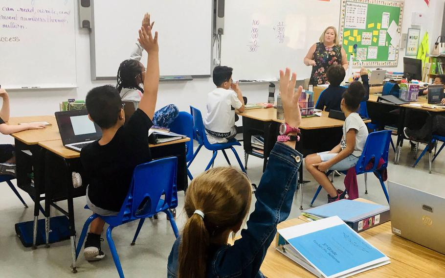 A fifth grade class at Bahrain School in September 2019. Elementary and middle school classes at the Navy base in Bahrain will resume on Sept. 27, 2020, a decision made by school officials after Navy leaders eased the health protection condition earlier this month.