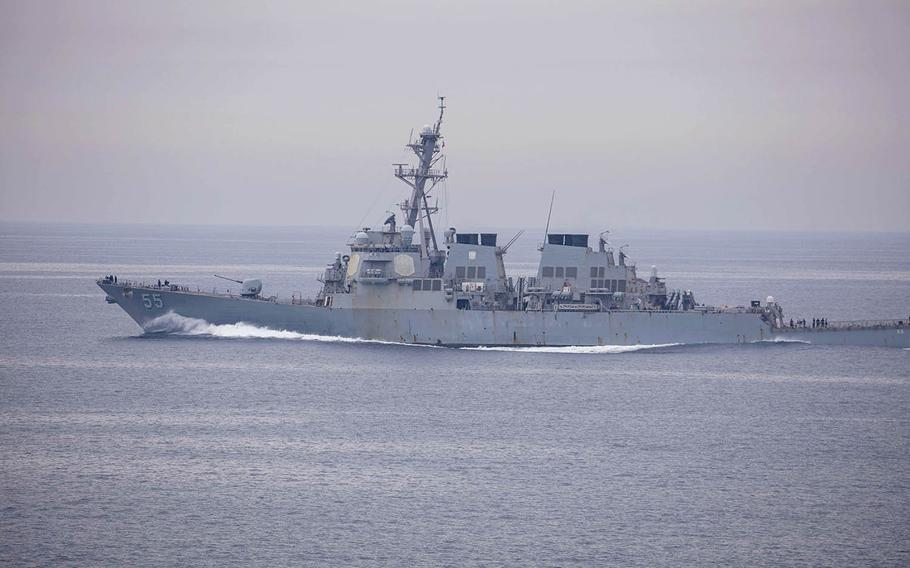 The guided-missile destroyer USS Stout sails in the Arabian Gulf, May 6, 2020.