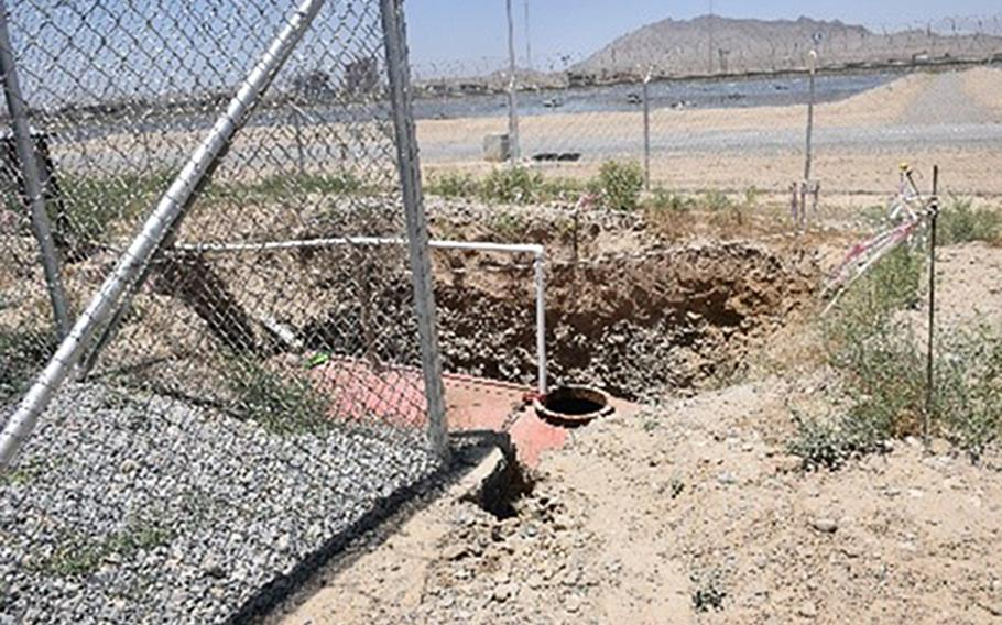 Inspectors found sewage spilling from a septic tank, located behind the fence and well house at Pul-e Charki prison in Kabul, Afghanistan, according to a report released Oct. 27, 2020 by the Special Inspector General for Afghanistan Reconstruction.
