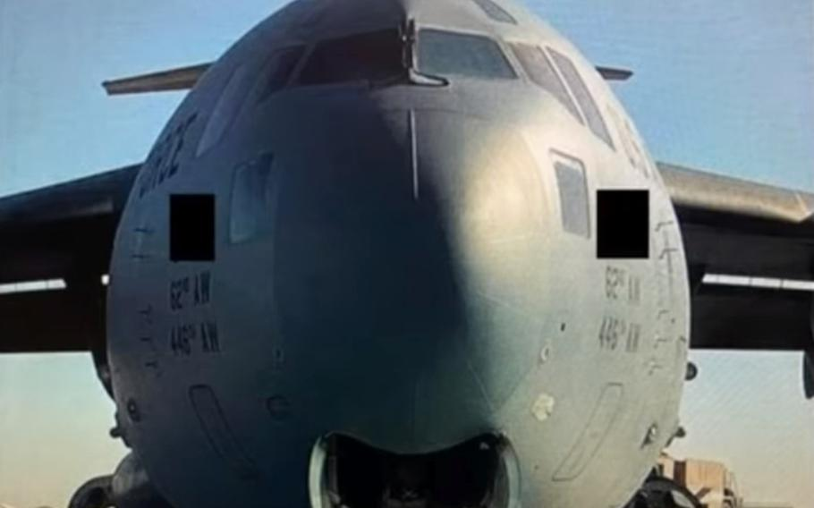 A U.S. Air Force C-17 Globemaster III made an emergency landing at Ahmad Shah Baba International Airport in Kandahar, Afghanistan, Oct. 18, 2020, with the nose landing gear still up.