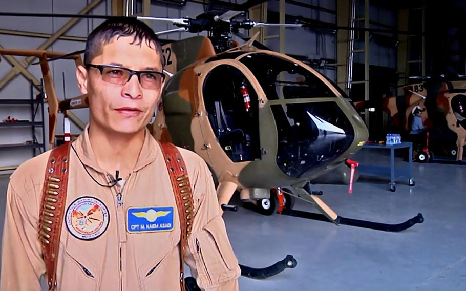 In a screenshot from a 2017 NATO Resolute Support video, then-Capt. Mohammad Naiem Asadi talks about flying helicopters for the Afghan Air Force. Now a major, Asadi and his family had been approved to come to the U.S. for their protection until the Pentagon reversed its endorsement of their exit.