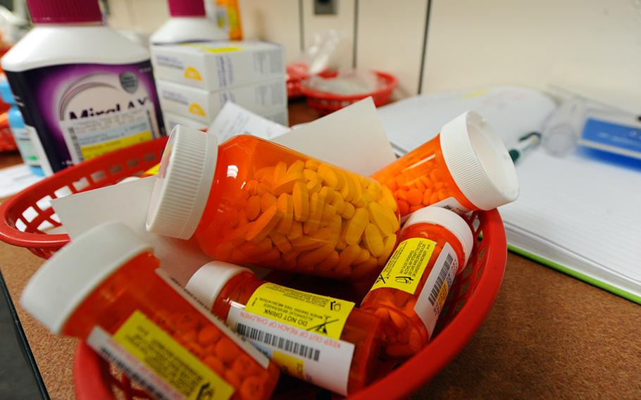 Processed medications await pick up at the pharmacy on Ellsworth Air Force Base, S.D., on Oct. 25, 2011.