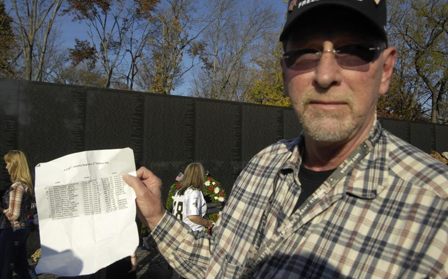 Vietnam veteran Frank Gabelman holds a list of 17 names of those he had fought with during the war who were killed in the war.