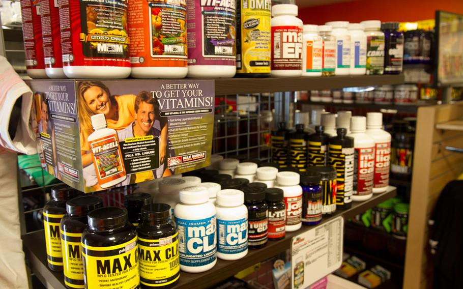 Dietary supplements, such as these for sale in the Yokota Air Base gym, are popular with servicemembers, but a recent study found that many users don't fully understand the safety and effectiveness of what they're taking.