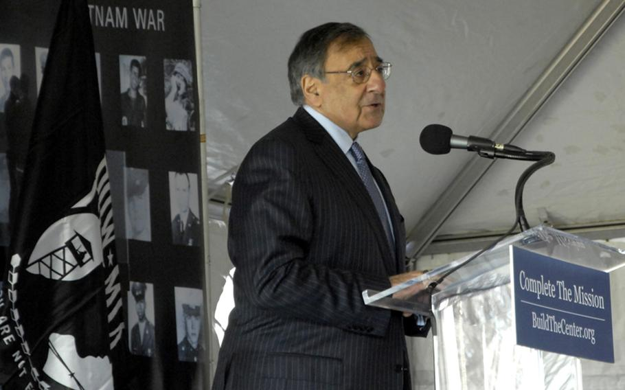 Secretary of Defense Leon Panetta speaks at the groundbreaking ceremony for the Education Center at the Wall in Washington, D.C., on November 28, 2012.