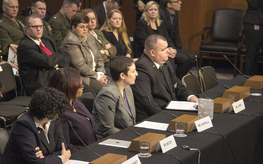 Military sexual assault victims and their advocates testify before the Senate Armed Services Committee's Subcommittee on Personnel in Washington, March 13, 2013.