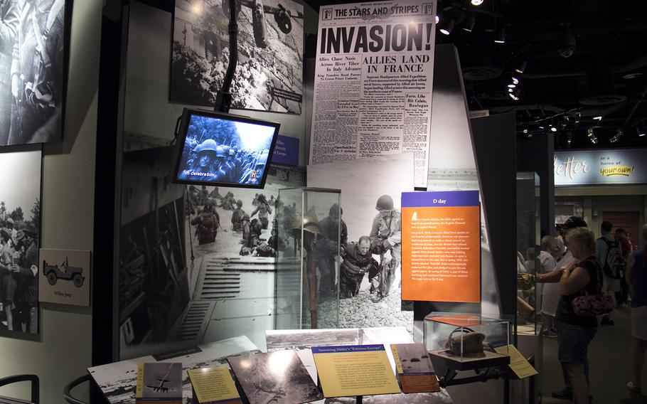 This is a WWII display depicting a period in the war that led to D-Day. The June 4, 1944 Stars and Stripes front page story informs readers about U.S. allies landing in France.