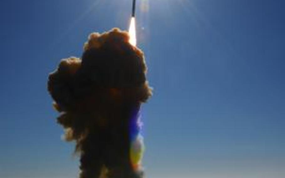 A ground-based interceptor lifts off from Vandenberg Air Force Base, Calif., in 2008. A weapon designed to blast nuclear missiles out of the sky failed to hit its target over the Pacific Ocean on July 5, 2013.