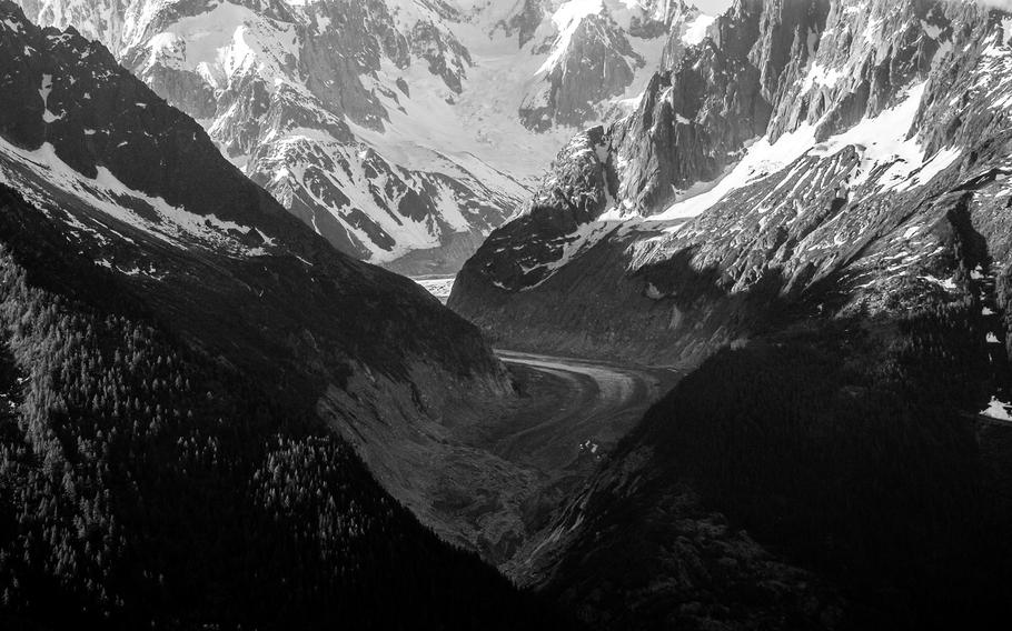A small piece of the Argentiere glacier near Chamonix, France, is seen through the valley it helped carve.
