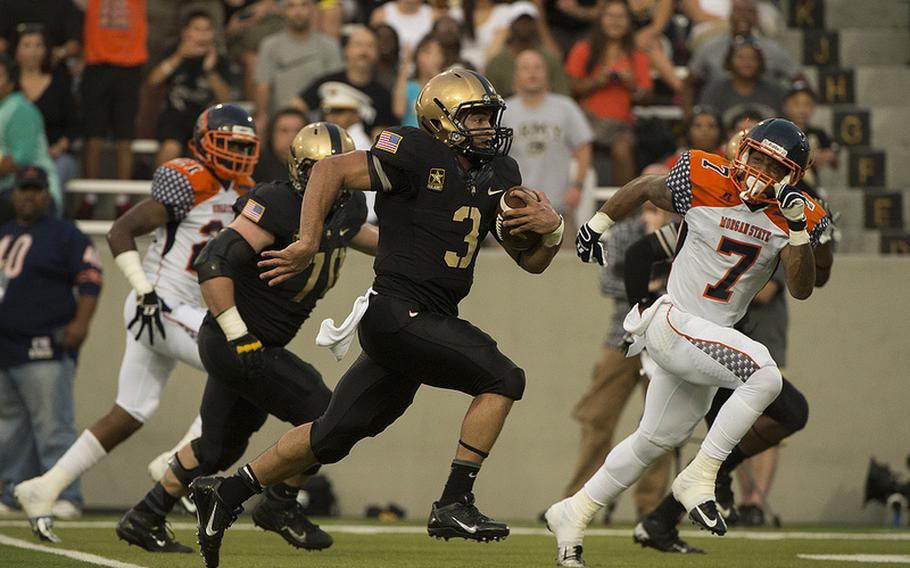 Making just his second career start, junior Angel Santiago combined for 221 total yards of offense to lead the Army football team to a 28-12 victory over visiting Morgan State Aug. 30, 2013, at Michie Stadium.