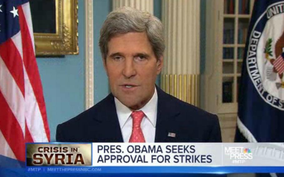 Secretary of State John Kerry made the rounds on several Sunday news shows, Sept. 1, 2013, backing the president's effort to corral Congressional support for a military strike on Syria.