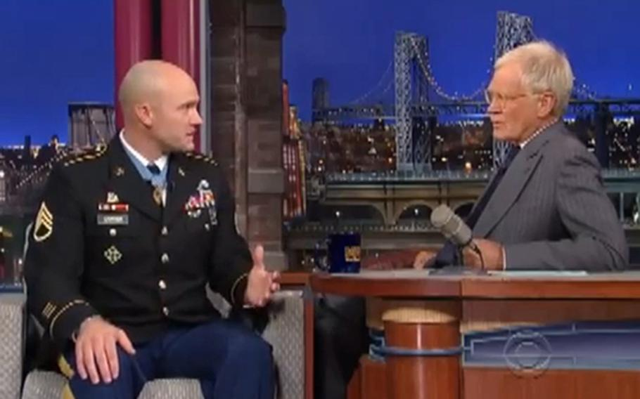 Days after receiving the Medal of Honor, Army Staff Sgt. Ty Carter appeared on the Late Show With David Letterman, Aug. 28, 2013.