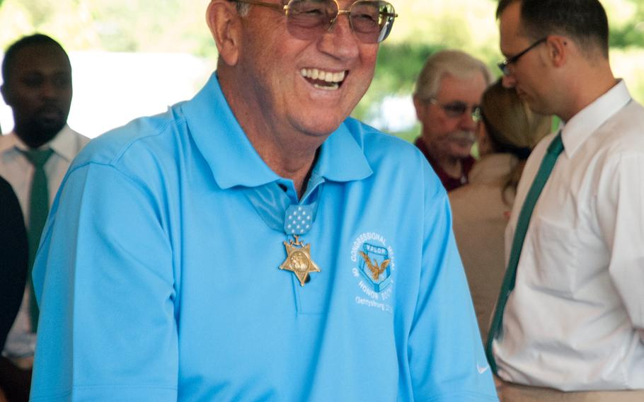 A Medal of Honor recipient laughs during lunch, which was part of the annual Medal of Honor Society convention. This year the multi-day event was held at the Eisenhower House in Gettysburg, Pa.