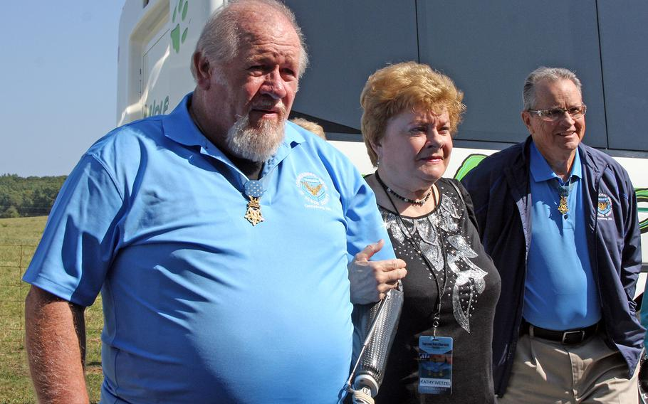 Medal of Honor recipient and Vietnam veteran Gary Wetzel arrives for the annual Medal of Honor Society's convention at Gettysburg, Pa. in September, 2013.