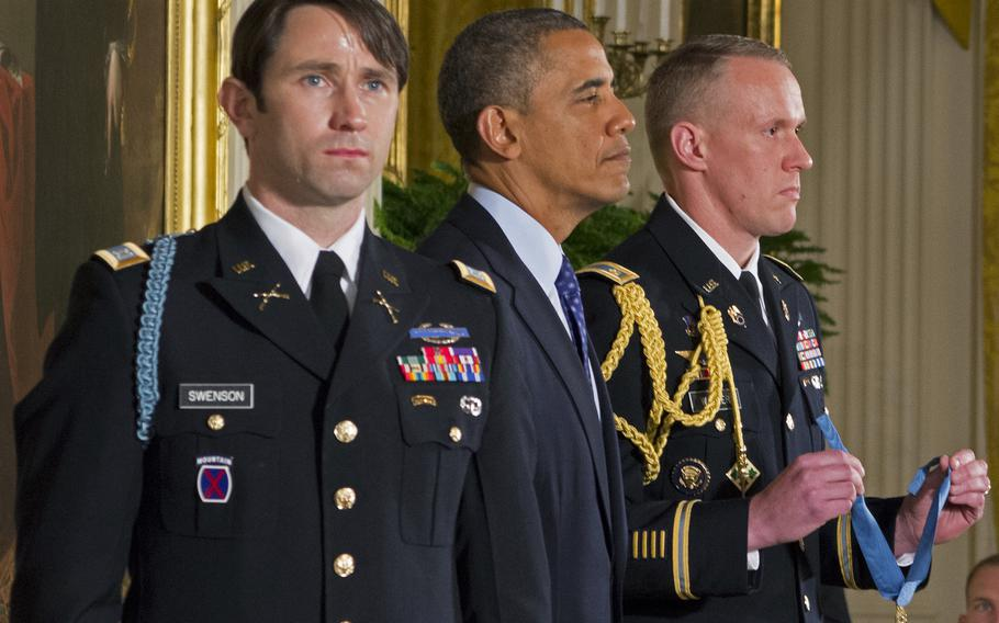 Capt. William Swenson, far left, awaits the Medal of Honor. President Barack Obama is next to him.