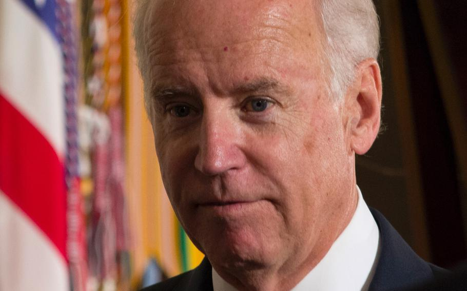 Vice President Joe Biden is seen at the Medal of Honor ceremony for Capt. William Swenson on Oct. 15, 2013.