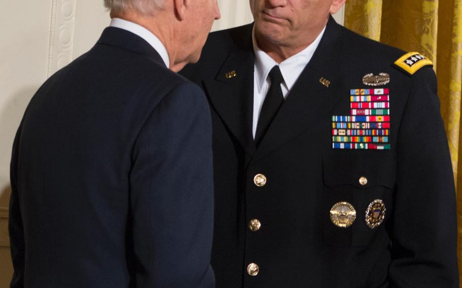 Vice President Joe Biden chats with Chief of Staff of the Army Gen. Ray Odierno after the Medal of Honor ceremony on October 15, 2013.