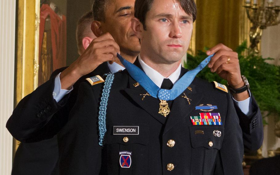 Capt. William Swenson receives the Medal of Honor from President Barack Obama on October 15, 2013.