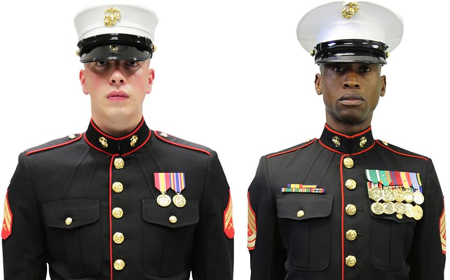 A Marine Corps Uniform Board survey is asking Marines whether all Marines should adopt the Dan Daly cap, left, or if female Marines should wear the current male cover, right, with some modifications.
