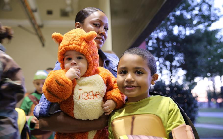 Sharona Russell enjoys the Center for Naval Aviation Technical Training Halloween party with her children Oct. 25 aboard the air station Cherry Point, N.C. Keep your children close while out trick-or-treating or enjoying Halloween festivities.
