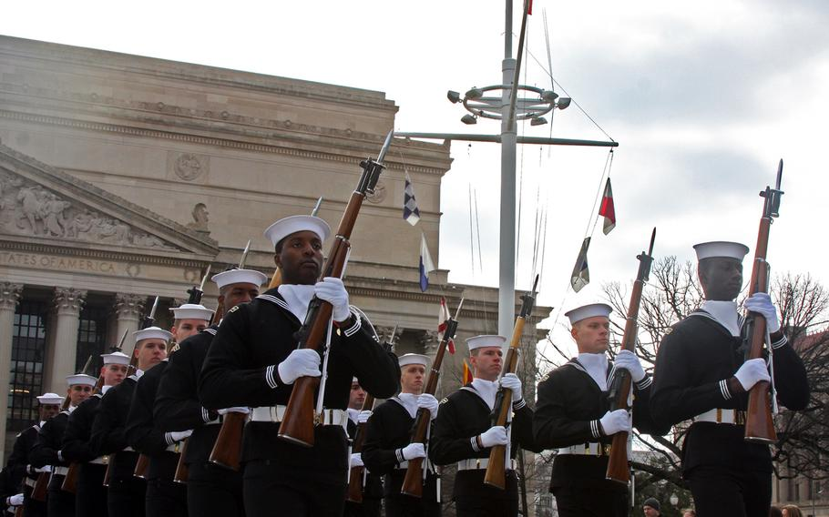 Sailors participate in the Pearl Harbor Remembrance Day at the U.S. Navy Memorial in Washington, D.C. on Dec. 7, 2013.