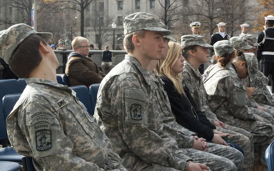 National Guardsmen watch the Pearl Harbor Remembrance Day in Washington, D.C.