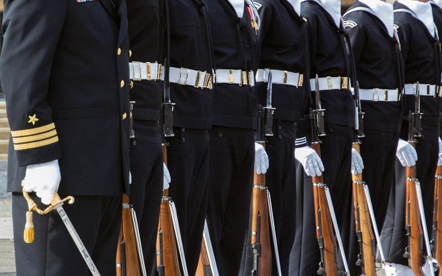 Sailors line up during the Pearl Harbor Remembrance Day on Dec. 7, 2013, at the U.S. Navy Memorial in Washington, D.C.