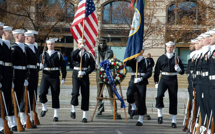Sailors participate in the Pearl Harbor Remembrance Day in Washington, D.C.
