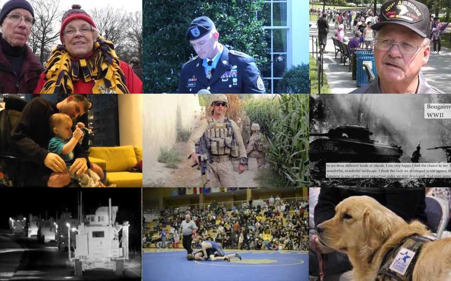 Screen grabs from a few of the over 200 videos produced on Stars and Stripes' YouTube channel in 2013.