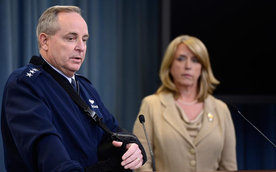 Air Force Chief of Staff Gen. Mark A. Welsh III and Secretary of the Air Force Deborah Lee James speak at the Pentagon about an investigation involving missile launch officers cheating on proficiency tests, Jan. 15, 2014.